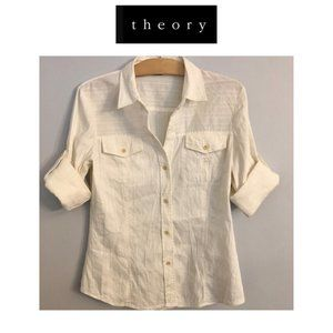 Theory Roll-Tab Sleeve Button Down Shirt